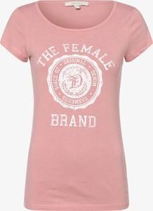 Różowy t-shirt Tom Tailor Denim z krótkim rękawem w młodzieżowym stylu z okrągłym dekoltem