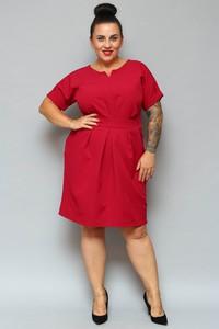 Sukienka KARKO dla puszystych z krótkim rękawem midi