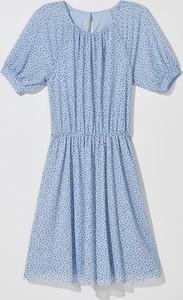 Niebieska sukienka Mohito mini w stylu casual z krótkim rękawem