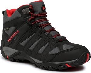 Czarne buty trekkingowe eobuwie.pl z goretexu sznurowane