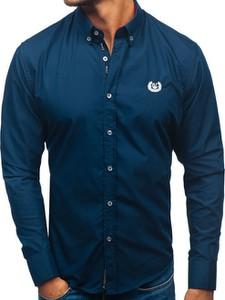Granatowa koszula Denley z bawełny z klasycznym kołnierzykiem z długim rękawem