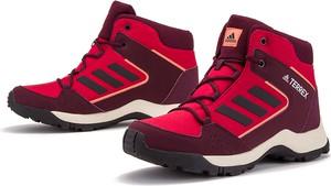 Czerwone buty dziecięce zimowe Adidas z zamszu sznurowane