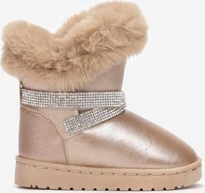 Złote buty dziecięce zimowe Multu