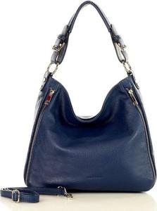 Niebieska torebka MAZZINI ze skóry