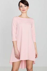 Różowa sukienka Katrus z okrągłym dekoltem