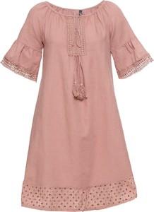 Sukienka bonprix RAINBOW z lnu z krótkim rękawem oversize