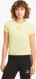 Żółty t-shirt Puma z bawełny z okrągłym dekoltem