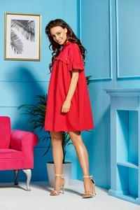 Sukienka TAGLESS z kołnierzykiem z szyfonu z krótkim rękawem