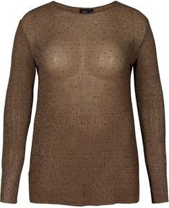 Brązowa bluzka Zizzi z długim rękawem