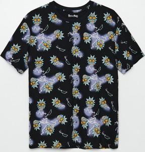 Czarna bluzka Cropp z okrągłym dekoltem z krótkim rękawem
