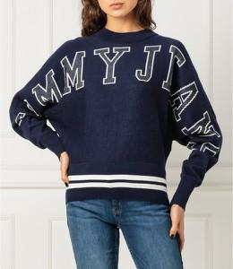 Granatowy sweter Tommy Jeans z wełny w stylu casual