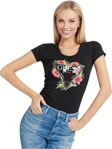 Czarna bluzka Guess w młodzieżowym stylu z okrągłym dekoltem z nadrukiem