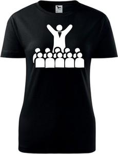 Czarny t-shirt TopKoszulki.pl z okrągłym dekoltem z krótkim rękawem z bawełny