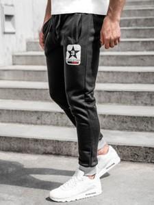 Czarne spodnie sportowe Denley z bawełny