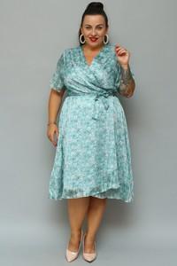 Sukienka KARKO z krótkim rękawem z szyfonu midi