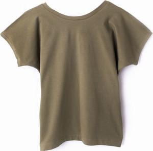 Zielona bluzka Odczapy z bawełny z okrągłym dekoltem