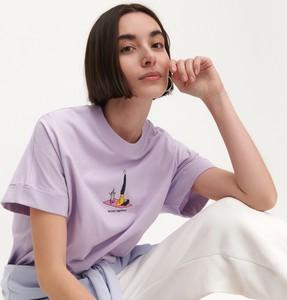 T-shirt Reserved z bawełny z krótkim rękawem z okrągłym dekoltem