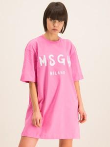 Różowa sukienka MSGM z krótkim rękawem mini z okrągłym dekoltem