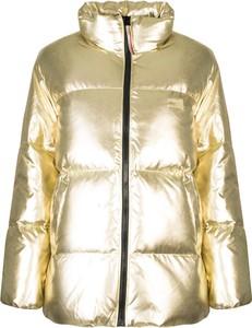 Złota kurtka ubierzsie.com z tkaniny krótka