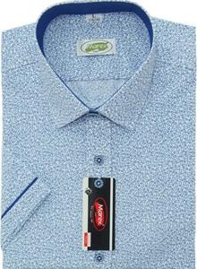 Niebieska koszula Marex Łódź z krótkim rękawem z włoskim kołnierzykiem z bawełny