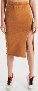 Pomarańczowa spódnica Cropp midi w stylu casual z dzianiny