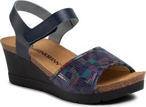 Granatowe sandały Dr. Brinkmann ze skóry