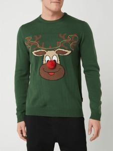 Sweter Only & Sons w młodzieżowym stylu w bożonarodzeniowy wzór