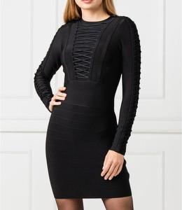 Czarna sukienka Guess by Marciano mini z długim rękawem