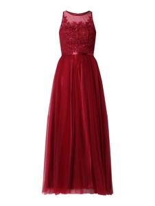 Czerwona sukienka Laona bez rękawów z satyny rozkloszowana