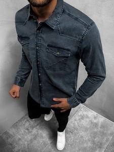 Koszula ozonee.pl z jeansu z długim rękawem