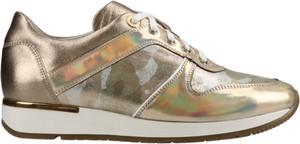 Złote buty sportowe Conhpol Dynamic sznurowane ze skóry