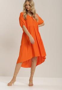 Sukienka Renee midi z dekoltem w kształcie litery v z długim rękawem