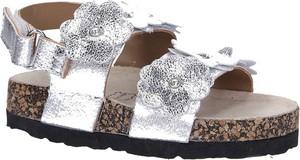 Srebrne buty dziecięce letnie Casu na rzepy w kwiatki