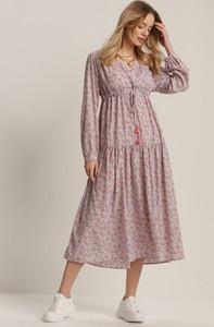Różowa sukienka Renee z długim rękawem