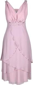 Różowa sukienka Fokus midi z dekoltem w kształcie litery v asymetryczna