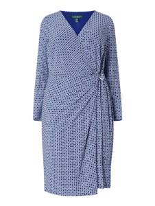 Niebieska sukienka Ralph Lauren kopertowa z długim rękawem