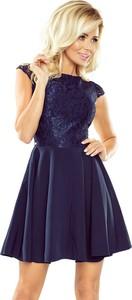 Granatowa sukienka NUMOCO mini rozkloszowana z dekoltem w kształcie litery v