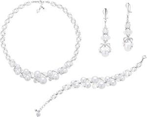 Perlove Komplet Biżuterii Ślubnej z Klipsami