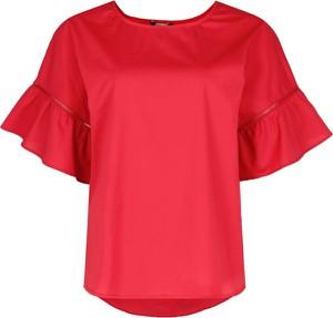 Czerwona bluzka Twinset z krótkim rękawem z okrągłym dekoltem