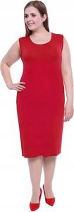 Czerwona sukienka Inna prosta midi bez rękawów