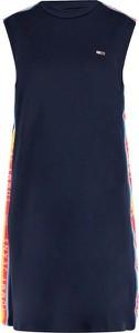 Sukienka Tommy Jeans mini z okrągłym dekoltem bez rękawów