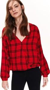 Czerwona bluzka Top Secret w młodzieżowym stylu z długim rękawem