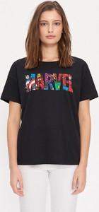 Czarny t-shirt House z okrągłym dekoltem z krótkim rękawem
