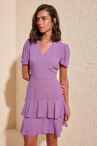 Fioletowa sukienka Trendyol mini z krótkim rękawem