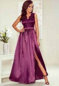 Fioletowa sukienka Inna rozkloszowana bez rękawów
