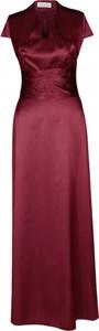 Czerwona sukienka Fokus maxi z dekoltem w kształcie litery v z satyny