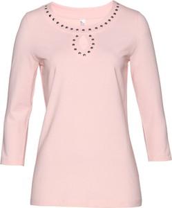 Różowa bluzka bonprix bpc selection z dekoltem w łódkę