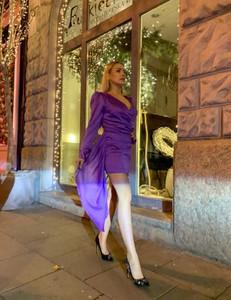 Fioletowa sukienka Lago z żakardu