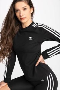 Czarna bluzka Adidas z długim rękawem z okrągłym dekoltem