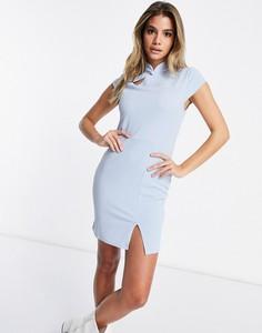 Niebieska sukienka I Saw It First z tkaniny z golfem bodycon